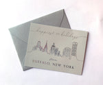 Happiest of Holidays Foil Buffalo Skyline Holiday Greeting Card