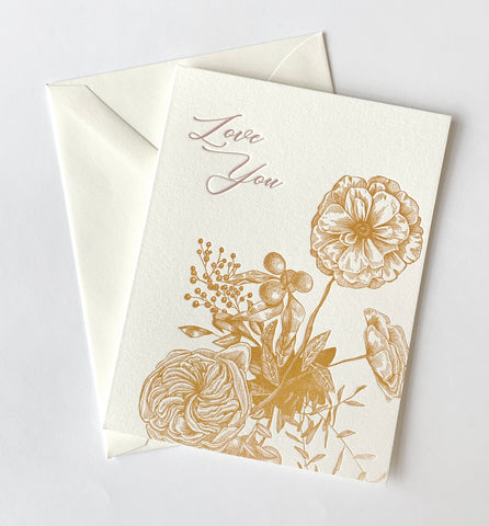 Love You Letterpress Greeting Card