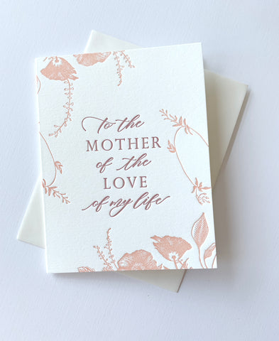 To the mother of the love of my life letterpress gereting card rust belt love