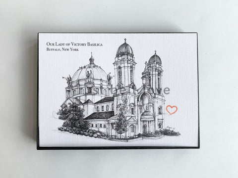 Our Lady of Victory Basilica Illustration Print - Buffalo, NY