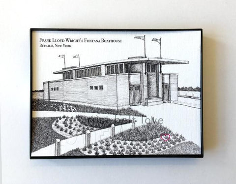 Frank Lloyd Wright's Fontana Boathouse Illustration Print - Buffalo, NY