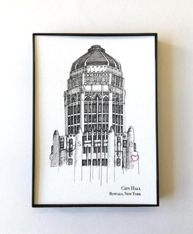 City Hall in Buffalo, NY Illustration Print