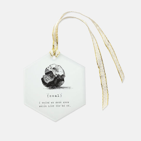 Coal Holiday Glass Ornament - Hexagon