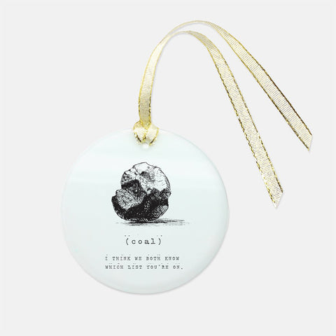 Coal Holiday Glass Ornament - Round