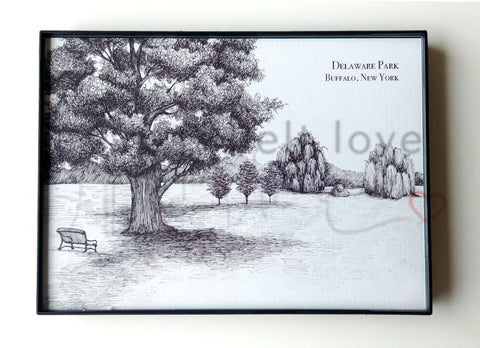 Delaware Park Illustration Print - Buffalo, NY