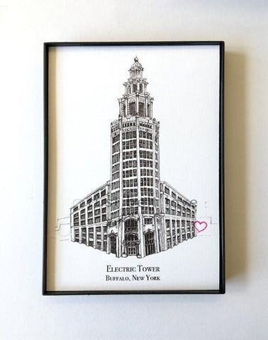 Electric Tower Illustration Print - Buffalo, NY