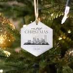 glass ornament with Buffalo, NY skyline in hexagon shape