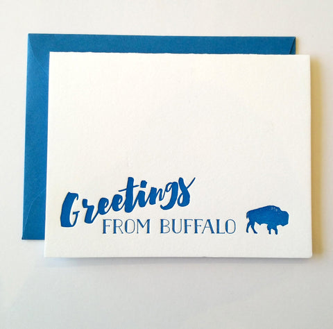 Greetings from Buffalo Letterpress Greeting Card