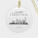 round glass ornament with Buffalo, NY skyline