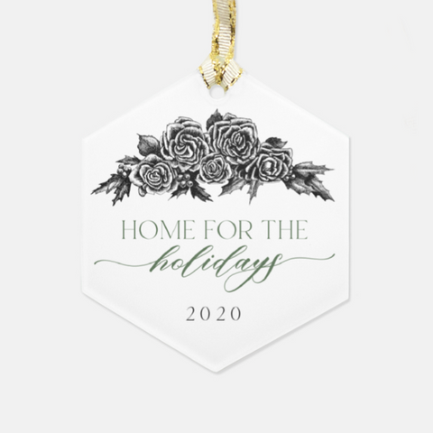 Home For The Holidays Glass Ornament - Hexagon
