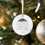 round glass ornament that says I'll be home for Christmas, if only in my dreams