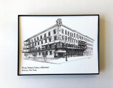 Pearl Street Grill and Brewery Illustration Print - Buffalo, NY
