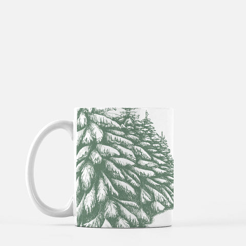 White ceramic mug with pinetree drawing