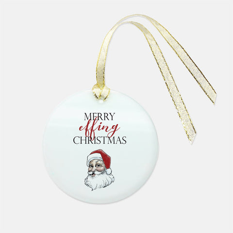 Santa Holiday Glass Ornament - Round