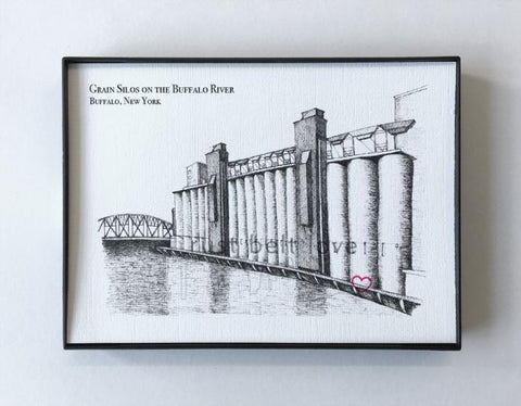 Grain Silos Illustration Print - Buffalo, NY