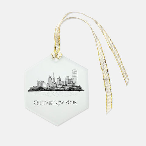 Buffalo, NY Skyline Glass Ornament - Hexagon