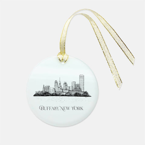 Buffalo, NY Skyline Glass Ornament - Round