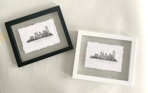 Framed Letterpress Print of Buffalo, NY Skyline Illustration