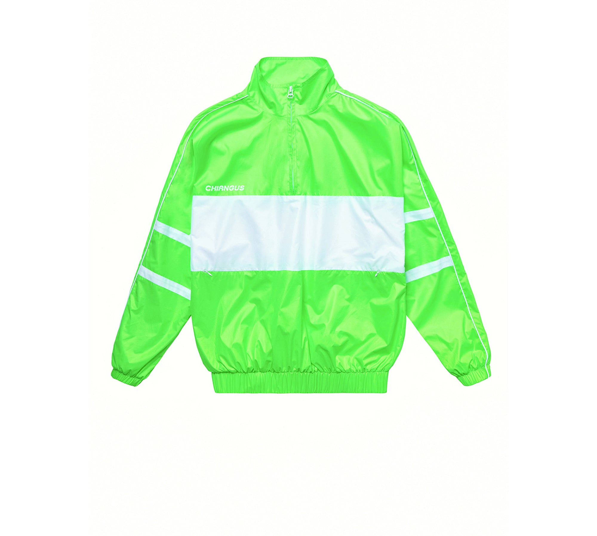 CONTRAST PATCHWORK LONG WINDBREAKER JACKET