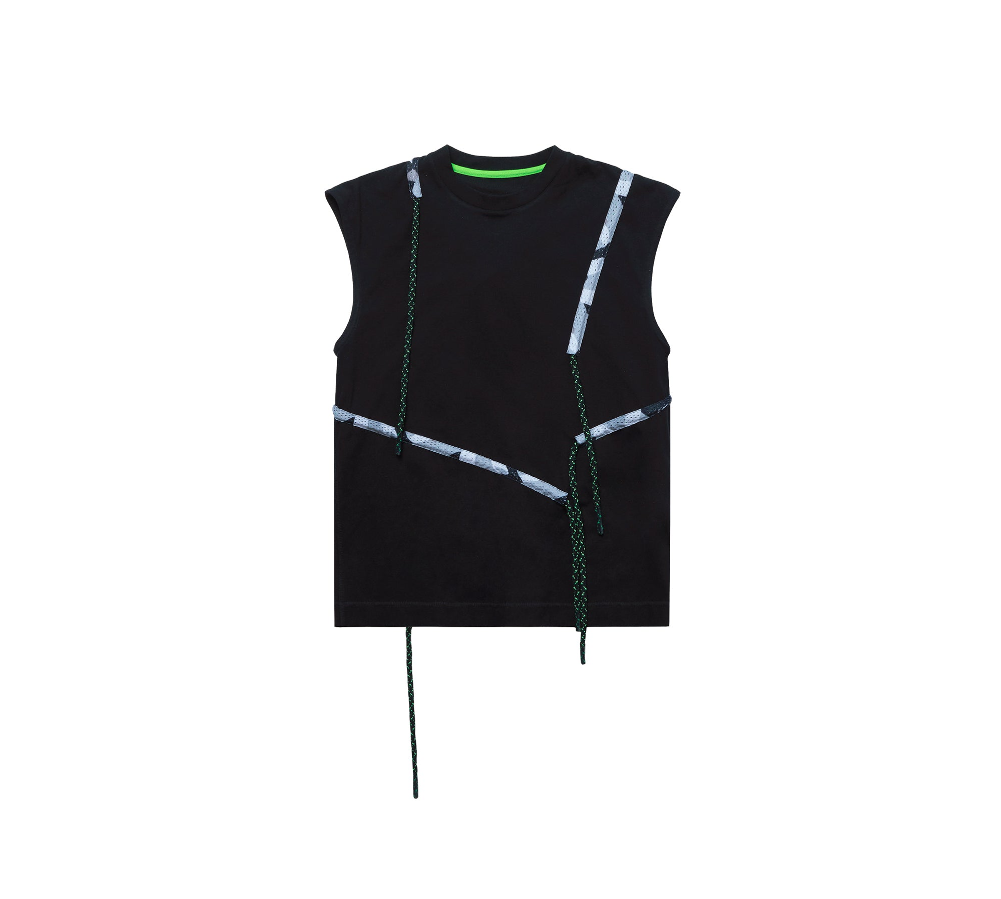 DRAWSTRING CREWNECK SLEEVELESS SHIRT