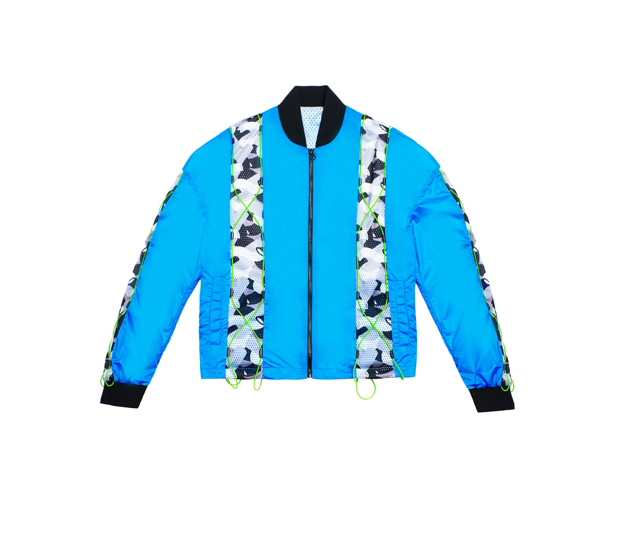 DRAWSTRING PATCHWORK BOMBER JACKET