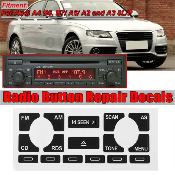 Radio Stereo Button Repair Decals Stickers For Audi A4 B6 B7/ A6/ A2 A3 8L/P
