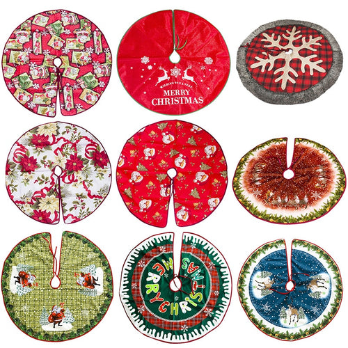 Xmas Floor Mat Cover Home Party Decor Fashion Christmas Tree Skirt Chic Linen Carpet Floor Mat Cover for New Year