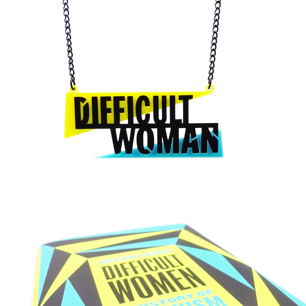 Difficult Woman necklace made to celebrate Helen Lewis's book Difficult Women