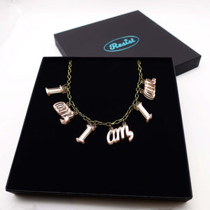 I am, I am, I am. necklace in rose gold mirror shown in presentation gift box.