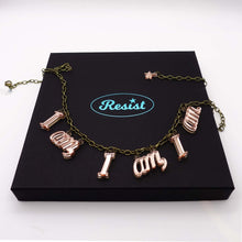 Load image into Gallery viewer,  I am, I am, I am. necklace in rose gold mirror shown on top of presentation gift box.