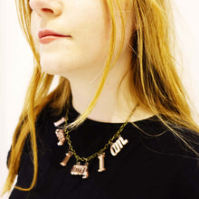 Load image into Gallery viewer, Side image of model wearing  I am, I am, I am. necklace in rose gold mirror.