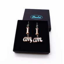 Load image into Gallery viewer, I am I am pair of earrings with just single I am on each shown in box