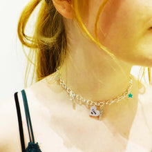 Load image into Gallery viewer, Model wears I love me charm necklace choker with star and lightning bolt charms