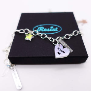 I love me charm bracelet with star and lightning bolt charms