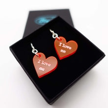Load image into Gallery viewer, I love me loveheart earrings shown in box