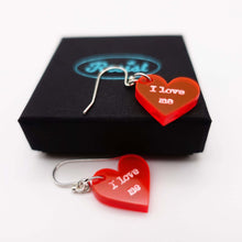Load image into Gallery viewer, I love me loveheart earrings shown on box