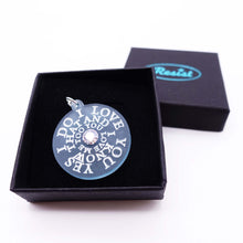 Load image into Gallery viewer, I LOVE YOU YES I DO  – Glow in the dark with Swarovski crystal – necklace or brooch