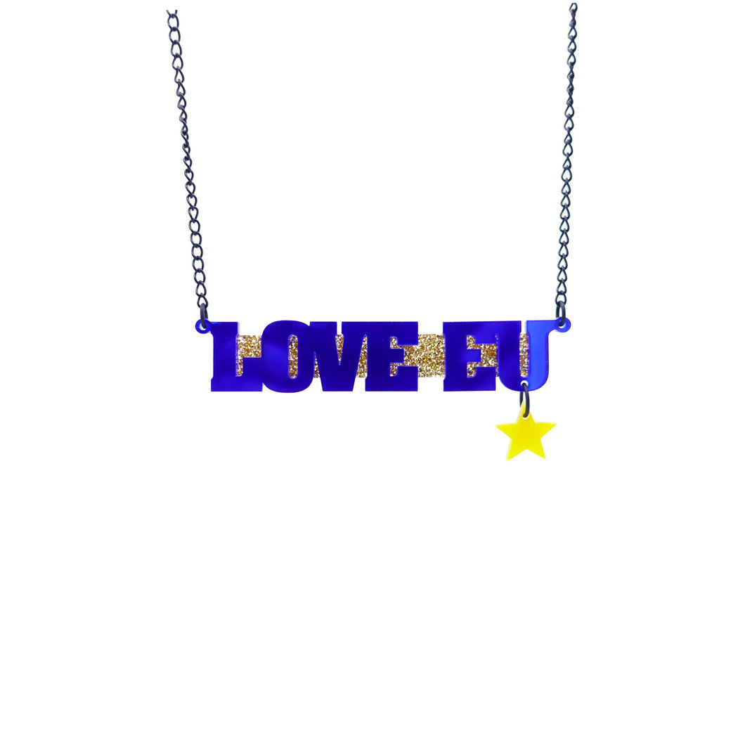 LOVE EU necklace in mirror blue with a yellow star and gold background hanging