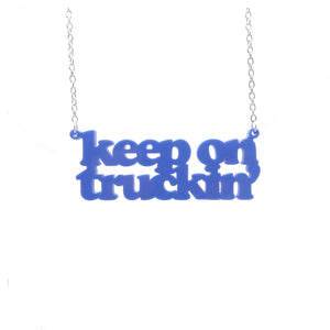 VW blue keep on truckin necklace hanging