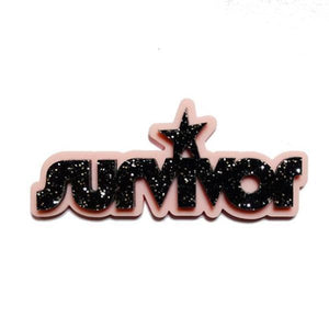 black glitter survivor brooch