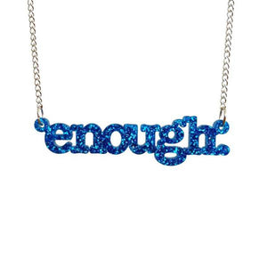 blue glitter enough necklace