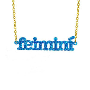 glitter blue Irish Gaelic feimini feminist necklace