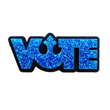 Load image into Gallery viewer, blue glitter star wars rebel alliance vote brooch