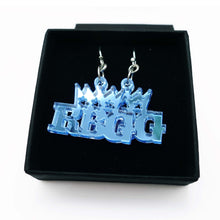 Load image into Gallery viewer, sky mirror Notorious RGB earrings in honour Ruth Bader Ginsburg