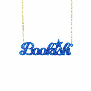 blue glitter  bookish necklace