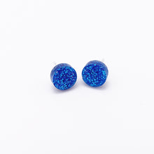 Load image into Gallery viewer, blue glitter dot earrings