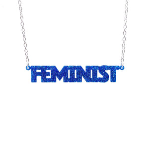 blue glitter all caps feminist necklace necklace