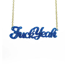 Load image into Gallery viewer, blue glitter fuck yeah necklace