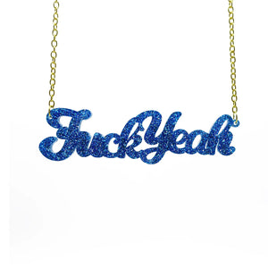 blue glitter fuck yeah necklace