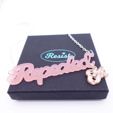 Load image into Gallery viewer, Pink blush frost Repealed the 8th necklace with pink gold mirror 8th shown on box